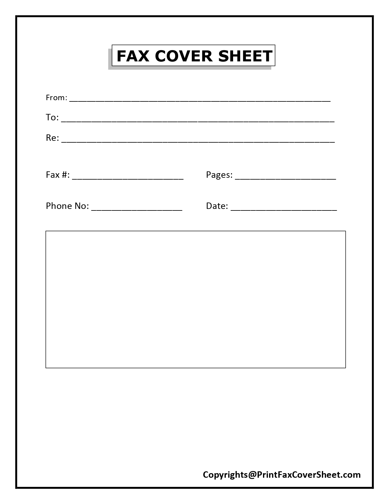 Free Blank Printable Fax Cover Sheet Template Pdf Word Fax Cover Sheet Template