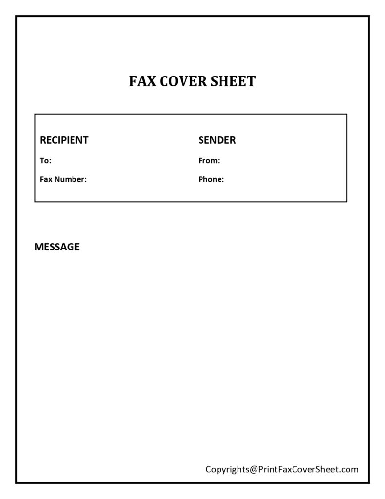 Fax Cover Sheet Example