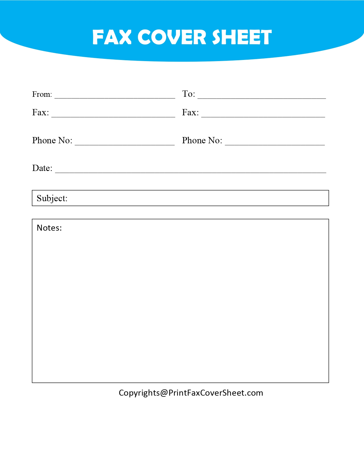 Free Blank Printable Fax Cover Sheet Template [PDF & Word]   Fax ...