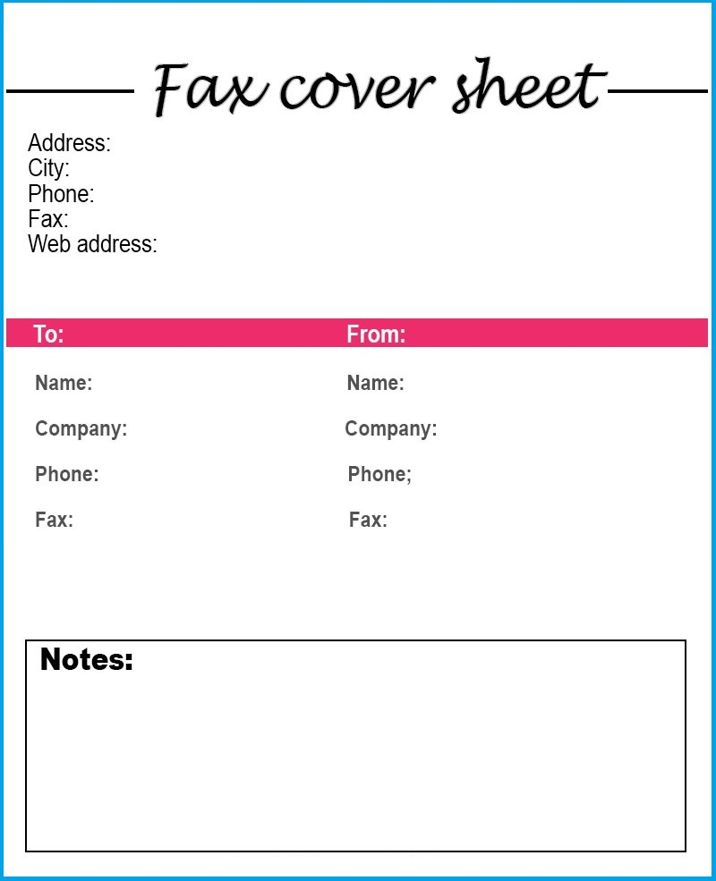 Google Docs Fax Cover Sheet