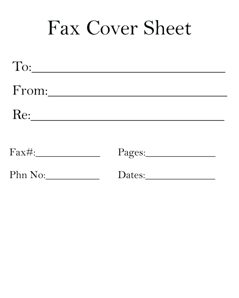Basic Fax Cover Letter Template