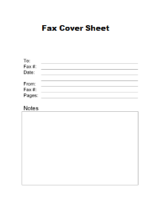Printable Basic Fax Cover Sheet Sample Template